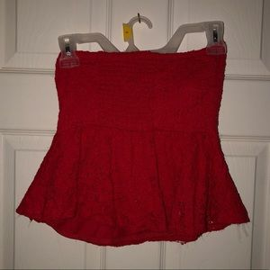 Summer Red Strapless Top